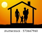 a young family with children in ... | Shutterstock .eps vector #573667960