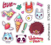 Stock vector colorful vector patch badges with animals characters and things hand drawn stickers pins in 573677380