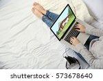 online shopping concept. woman...   Shutterstock . vector #573678640