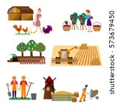set of the farming agriculture... | Shutterstock .eps vector #573679450