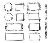 hand drawn frames set. cartoon... | Shutterstock .eps vector #573682330