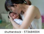 Asian Sleeping Newborn Baby An...