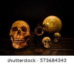 still life with human skull and ...   Shutterstock . vector #573684343