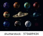 Vector set of polygonal planets of the Solar System, including Pluto, and Moon.  | Shutterstock vector #573689434