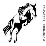 jumping horse black and white... | Shutterstock . vector #573693433