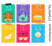 travel card collection   Shutterstock .eps vector #573696796