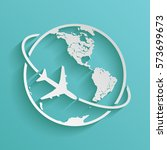 airplane fly around the planet... | Shutterstock .eps vector #573699673