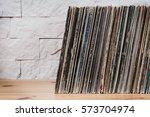 Wooden Shelf Full Of Old Vinyl...