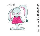 cute colorful cartoon rabbit in ... | Shutterstock .eps vector #573707383