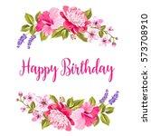 tropical flower garland. happy... | Shutterstock .eps vector #573708910