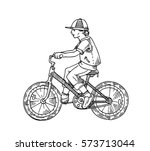 outline animation cyclist... | Shutterstock .eps vector #573713044