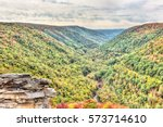 Small photo of Blackwater river with Allegheny mountains in autumn at Lindy Point overlook