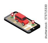 isometric location. mobile geo... | Shutterstock .eps vector #573715330