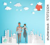 couple running with paper city... | Shutterstock .eps vector #573721324
