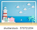lighthouse with ocean... | Shutterstock .eps vector #573721354