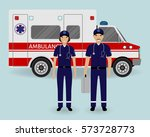hospital staff concept.... | Shutterstock .eps vector #573728773