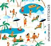 summer beach people seamless... | Shutterstock .eps vector #573732628
