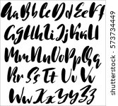 hand drawn font made by dry... | Shutterstock .eps vector #573734449