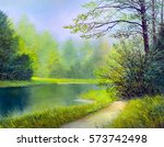 oil painting landscape  ... | Shutterstock . vector #573742498