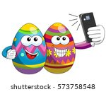 decorated easter eggs cartoon... | Shutterstock .eps vector #573758548