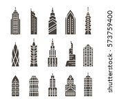 city building vector icon set.... | Shutterstock .eps vector #573759400