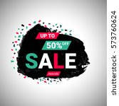 50  sale banner over black... | Shutterstock .eps vector #573760624