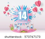 Stock vector lovely young joyful couple celebrate for valentine s day festival on abstract background with text 573767173