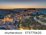 the old town of ragusa ibla in... | Shutterstock . vector #573770620