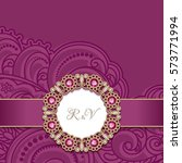 vintage greeting card with gold ... | Shutterstock .eps vector #573771994