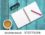 blue wooden desk table with... | Shutterstock . vector #573775198