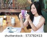 beautiful business woman... | Shutterstock . vector #573782413