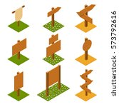 isometric wooden pointers on... | Shutterstock .eps vector #573792616