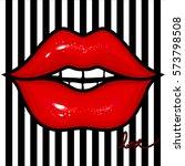 vector red female lips. glow...   Shutterstock .eps vector #573798508