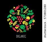 vegetarian food vegetables... | Shutterstock . vector #573801280