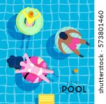 summer pool poster with pool... | Shutterstock .eps vector #573801460
