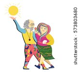 old couple dancing.funny hippie ... | Shutterstock .eps vector #573803680