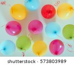 group multicolor balloons | Shutterstock . vector #573803989