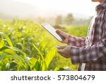 farmer man read or analysis a... | Shutterstock . vector #573804679
