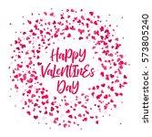 pink valentines hearts pattern... | Shutterstock .eps vector #573805240