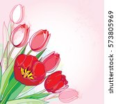 Vector Bouquet With Outline Re...