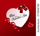 valentines day greeting card.... | Shutterstock .eps vector #573808780