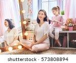 happy loving family. cute... | Shutterstock . vector #573808894