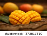 famous alphonso mango slices... | Shutterstock . vector #573811510