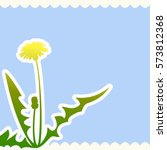 dandelion flower on a beige and ... | Shutterstock .eps vector #573812368