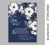 anemone wedding invitation card ... | Shutterstock .eps vector #573813460