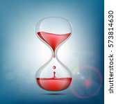 hourglass with human blood.... | Shutterstock .eps vector #573814630