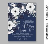 anemone wedding invitation card ... | Shutterstock .eps vector #573814654