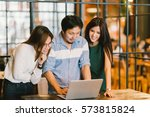 group of young asian business... | Shutterstock . vector #573815824