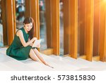 asian businesswoman or college... | Shutterstock . vector #573815830