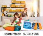group of young asian people... | Shutterstock . vector #573815908